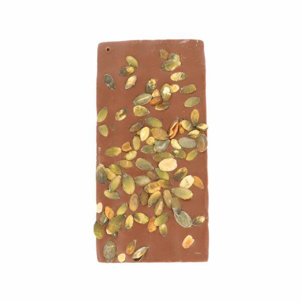 Melkchocolade met pompoenpit (0,090 kg)
